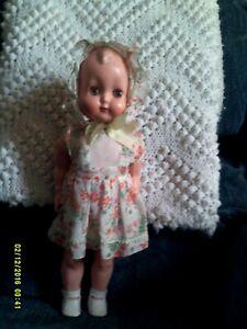 "Vintage Celluloid Doll...14""...Sleep Eyes & Orig. Dress and Bonnet"