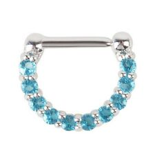 1pcs 16g(1.2mm) Surgical Steel CZ Septum Clicker Nose Ring Hoop Piercing Jewelry Blue