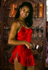RED SATIN Sexy Chemise Nightgown Babydoll Night Dress LARGE - NEW - Made in USA