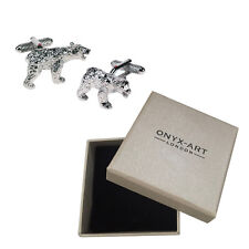 Mens Silver Wild Bear Cufflinks & Gift Box - By Onyx Art
