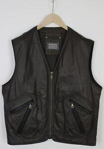 STANFORD Men (EU) 52 or ~X LARGE Soft Leather Brown Zip Biker Waistcoat 33236_G