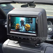 """Universal Leder Stil Black 7"""" HD DVD/USB/SD Kopfstütze Schutzscheiben Audi Q7/A4"""