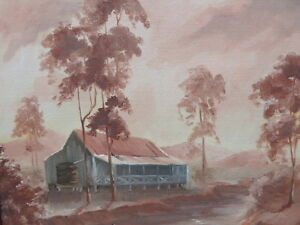 OIL TWILIGHT IN AFRICA  ARTIST MARGARET CROWTHER 1893-1986  FREE SHIPPING
