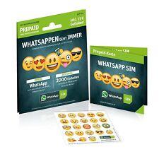 WhatsApp Sim e-plus/o2 Prepaidkarte UVP 10 €,Guthaben im Wert von 15 €, NEU 2GB