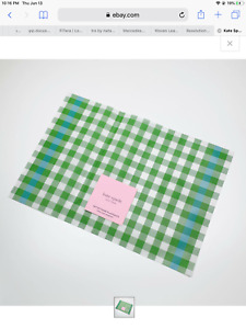 NEW Set of 4 Kate Spade New York Green Gingham w/ Color Pop Vinyl Placemats