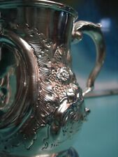 1866 Raise relief UK Victorian TaxHead HM solid sterling silver cup tankard 300g