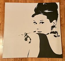 Audrey Hepburn Breakfast At Tiffany's Black/White Canvas Wall Painting 35x35 BIG