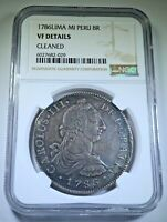 NGC 1786 Peru Silver 8 Reales Antique VF 1700's Old Spanish Colonial Dollar Coin