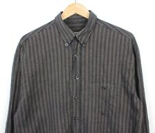 Camel 90s Vintage Mens Long Sleeve Brown/Grey Button Down Striped Shirt M