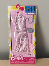 Barbie Complete Look Fashion Pack Pink Brocade Dress Clothes Fits Curvy Doll