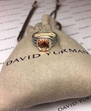 David Yurman Sterling Silver Petite Wheaton Ring Morganite & Diamonds SIZE 8