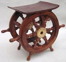 "NAUTICAL MARINE NAVIGATION Wood SHIP WHEEL Side Coffee TABLE 18"" W x 15"" H New"