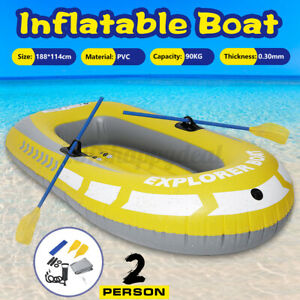 2Person Inflatable Rubber Boat Dinghy Yacht Kayak Oars Air Pump Water Sport Raft
