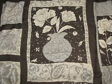 """Vtg Made in Italy Elaine Gold brown & beige floral square scarf 35"""" x 35"""""""