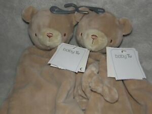 TU BROWN BEAR COMFORTER SOFT TOY SAINSBURYS TEDDY BLANKIE DOUDOU 2 TWO