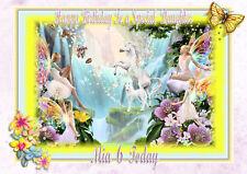 Personalised birthday card unicorn and fairy daughter grandaughter niece