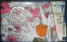 Full Flat Sheet - Spring Bouquet - Pink / Orange - Vintage Burlington House Usa