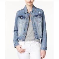 Vanilla Star Womens Sz M  Frayed Hem Tammie Denim Distressed Cropped Jacket