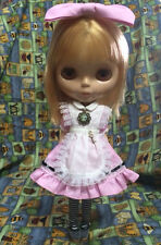 Blythe Outfit Maid dress + hairband + Socks + necklace set (PINK)