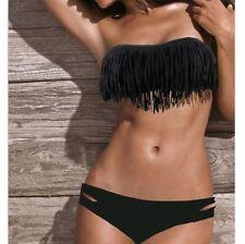 Bikini completi nero in poliestere per il mare e la piscina da donna