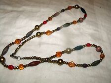 Beaded Vintage Necklace w/Tubular Accents - Beautiful Colors - Clasp Closure