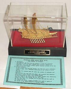 KOREAN 24KT GOLD PLATED TURTLE SHIP KEO BUK SUN BOXED DISPLAYED