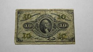 1863 $.10 Second Issue Fractional Currency Obsolete Bank Note Bill! 2nd RARE Iss