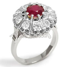 & Diamond Russian Style Ring #R1316 14k Solid White Gold Genuine Ruby