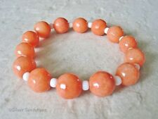 Chunky Faceted Peach Orange Jade & White Seed Beads Stretch Fashion Bracelet