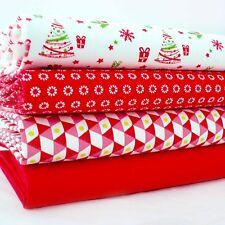 4x Lote Fat Quarter - árboles de Navidad & Novedades - rojo y blanco -100%