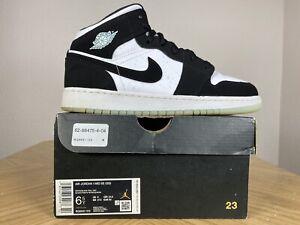 Nike Air Jordan 1 I Retro Mid Black White Panda Teal Tint Glow 6.5Y BQ6931-103