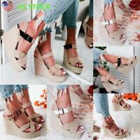 Summer Women's Ankle Strap Flatform Sandals Platform Espadrilles Wedges Shoes US