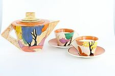 Clarice Cliff Pottery Teapot Saucer Autumn Bright Color Art Deco Style MMA 1993