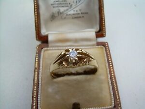 Vintage 9ct Gold Gents Natural White Sapphire Ring Size U.