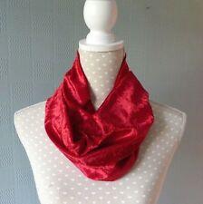 Red velour snood crushed velvet cowl scarf unisex single loop neck warmer