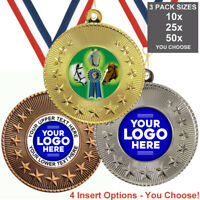 HORSE EQUESTRIAN METAL MEDALS 50mm, PACK OF 10, RIBBONS, INSERTS or OWN LOGO