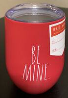 Rae Dunn BE MINE Red Insulated Stainless Steel Wine Glass w/ Lid 12oz Rare New