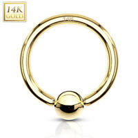 14K Solid GOLD Captive BEAD Nose Lip Cartilage Ears Belly RINGS Piercing Jewelry