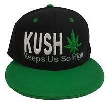 KUSH Keep Us So High Embroidered Black/Green 100% Cotton Snapback Hat Cap
