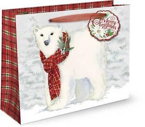 Punch Studio H8 Christmas Gift Bag 2pc Set - Snowy Friends Choose Size