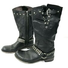 Liberty Black Boots Size 9 Black Buttery Leather Harness Silver Studs Moto Biker