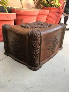 Antique Teak Wood Fine Floral Hand Carving Rare English Treasure Box Money Box