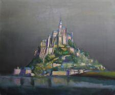 Huile sur toile représentant le Mont Saint-Michel signée et datée 60 Normandie