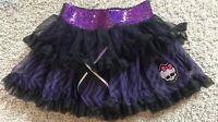Monster High Black & Purple Zebra Ghoulia 2 Tiered Lined Pettiskirt /Tulle Skirt