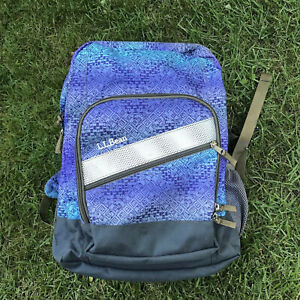 L.L. Bean Deluxe Book Pack Backpack Large Periwinkle Sky Chevron VGUC READ