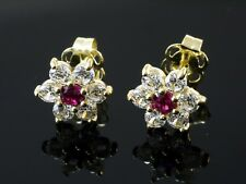 585 Gold Ohrstecker 1 Paar 7 mm  2 gefasste Rubine  12 Zirkonia Steine Ohrringe