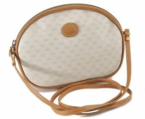 Authentic GUCCI Micro GG PVC Leather Shoulder Cross Body Bag Ivory Brown E0385
