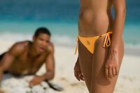 Man Looking at Hot Sexy Woman on Beach in Bikini Photo Art Print Poster 18x12 in