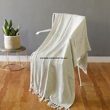 100% Cotton White Woven Herringbone Sofa Chair Bed Throw Fringed Blanket Woven