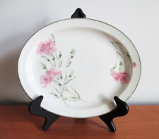 "Midwinter Invitation 11 3/4"" Oval Platter Pink Carnation 1970s England Stoneware"
